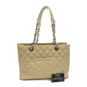 Authentic Chanel Quilted GST Caviar Apricot